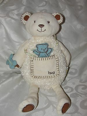 Eden Ivory White Bear Hug Pocket Blue Butterfly Stuffed Cream Sprites & Sprouts