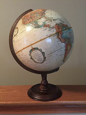 "12"" Replogle Globe With Antique Oceans, Raised Relief & Hardwood Stand USSR"