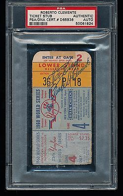 ROBERTO CLEMENTE Signed Autographed 1960 World Series Game 4 Ticket PSA/DNA