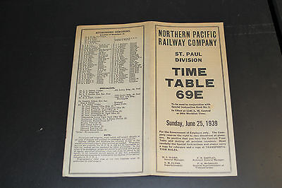 Northern Pacific Employee Time Table 69E - Saint Paul Division - June 25, 1939