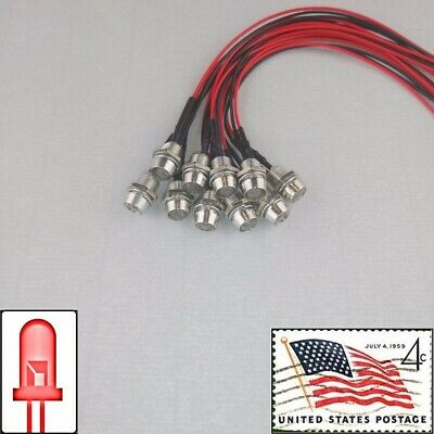 10x 5mm Red Clear Round Pre Wired LEDs Light 12v Metal Bezel USA