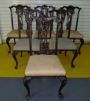 Antique Vintage Set 6 Heavily Carved Shell Chippendale Style Dining Chairs