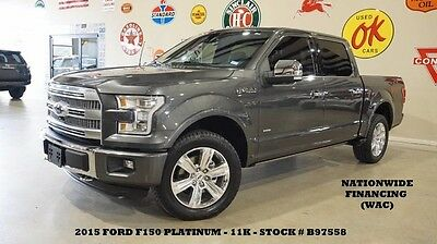 2015 Ford F-150  15 FI50 PLATINUM 4X4,ECO,PANO ROOF,NAV,360 CAM,HTD/COOL LTH,20'S,11K,WE FINANCE!