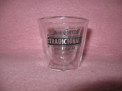"Jose Cuervo Tradicional Hollow Shot Glass 2 1/4"" tall Handcrafted"