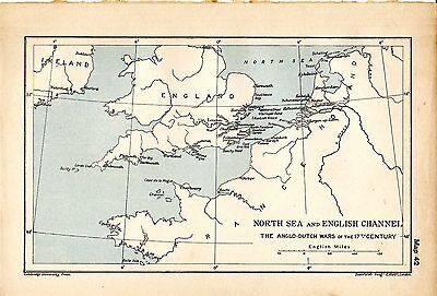 1912 ORIGINAL map North Sea English Channel Anglo-Dutch Wars 17th Century 42