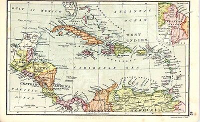 1880 ORIGINAL antique MAP CENTRAL AMERICA and WEST INDIES Walker's Ideal atlas