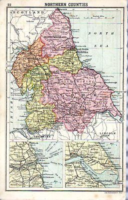 1880 ORIGINAL antique MAP NORTHERN SOUTHERN ENGLAND COUNTIES Walkers Ideal atlas