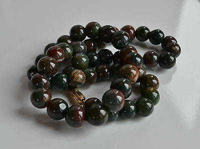 VINTAGE Jasper Bloodstone Blood Stone Ball beaded NECKLACE 16.5'' 8-9 mm