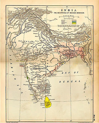 1912 ORIGINAL map India The Beginnings of the British Dominion 64