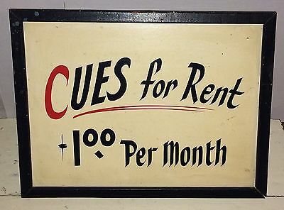 """Vintage Billiards Pool Hall  """"Cues for Rent"""" Painted Wooden Sign"""