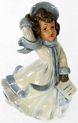 Atlantic Mold Caroler 8 Inch Hand Painted Ceramic Figurine Vintage Christmas