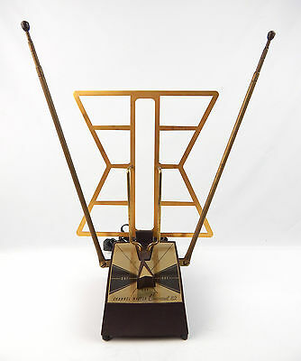 Mid Century 1960's Canaveral 82 Rabbit Ears TV Antenna Gold Atomic Space Age