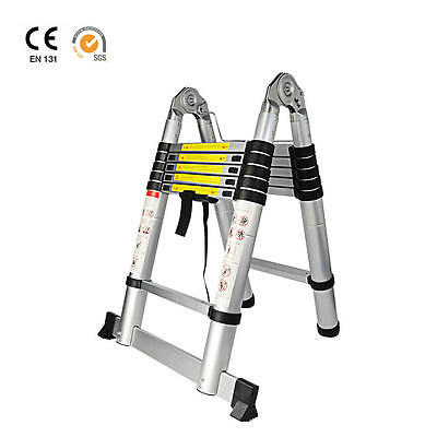 12.5ft Aluminum Telescoping Telescopic Extension Ladder Multi Purpose A-Type