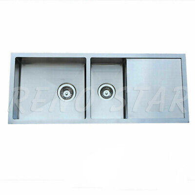 1160mm KITCHEN Double Bowl Undermount Drop In Stainless Steel Sink with Drainer