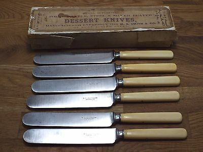A+ antique Premium bone handle box knives M.S Smith Detroit MI carbon steel set