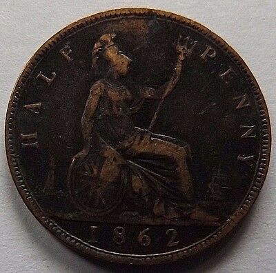 1862 Great Britain 1/2 Penny! Very Fine!