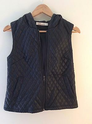 Quilted Faux Leather Vest - SIZE 8