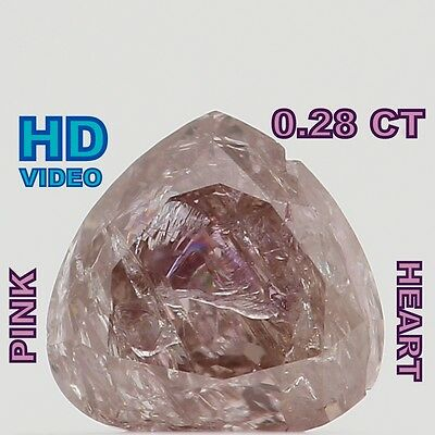 0.28 Cts Natural Loose Diamond Cut Heart Shape Pink Color L4946