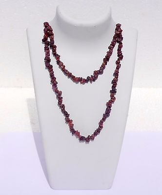 """399Cts Natural Genuine Indian  Ruby Jewellery Chip Nugget Beads 34"""" Necklace"""