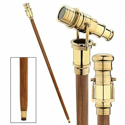 Vintage Brass Handle Victorian Telescope Head Wooden Walking StiCK-FREE SHIPPING