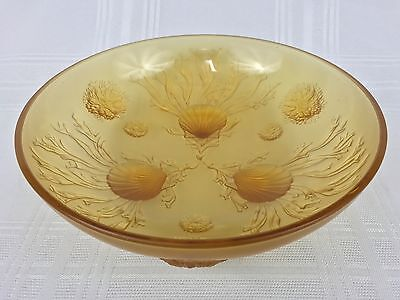 """Verlys Vintage French Art Glass 10 1/4"""" Footed Amber Bowl Sea Life Shells"""