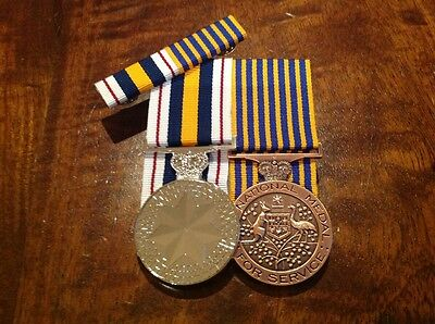Australian National Police Medal and National Medal with ribbon bar