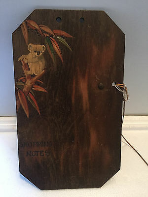 """Koala Pokerwork Note board with attached pencil, """"shopping notes"""" 1930's"""