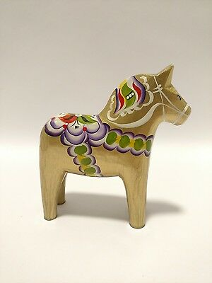 "5"" Gold Decorated Swedish Dala Horse, Folk Art Wood Carving by Grannas A Olssons"