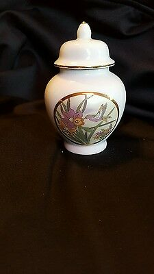 Gorgeous Fine China Japan Lidded Ginger Jar Hummingbird Flowers From Japan