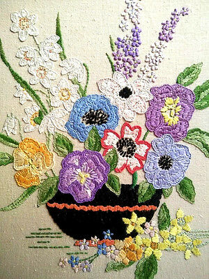 "Gorgeous Spring Flowers Hand Embroidered Large Picture/Panel on Board ~14"" x 17"""