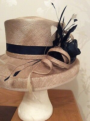 gold and navy free form hat, wedding,races,ladies,mothers