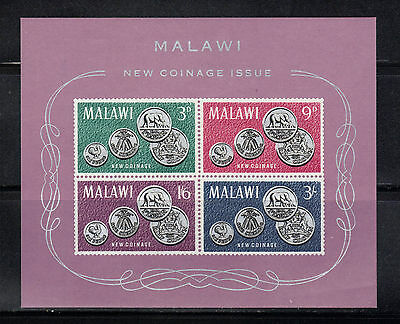 MALAWI MNH S/S #25a ~ ISSUED 1965 ~ COINS ON STAMP