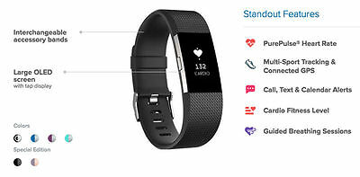 Fitbit Charge 2 Fitness Tracker - Large - Black