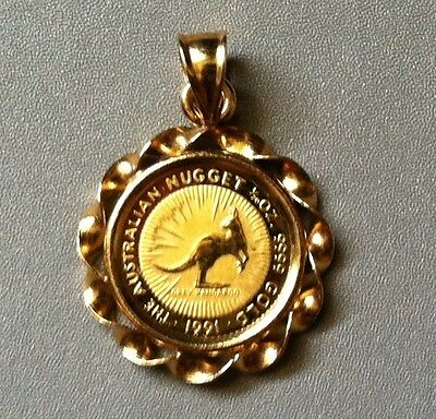 NEW ! 1991 The AUSTRARIAN NUGGET 1/20 oz. Uncirculated  .9999 GOLD COIN PENDANT