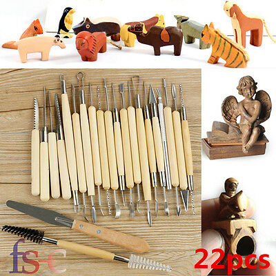 22PCS Polymer Clay Sculpting Tool Set Wood Models Art Projects Pottery Kit UK