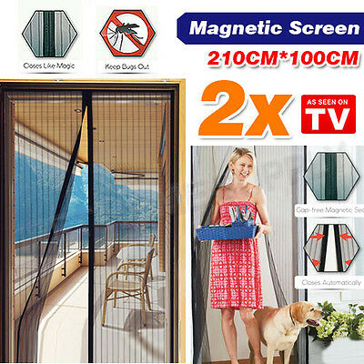 2x Magic Curtain Door Mesh Magnetic Hands Free Fly Mosquito Bug Insect Screen