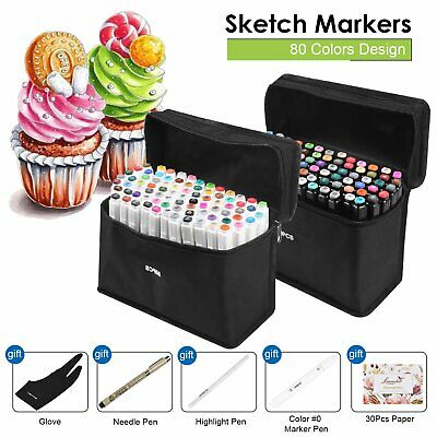 Touch New Marker Pen 80 Color Set Graphic Art Sketch Twin Point Broad Point+ Bag