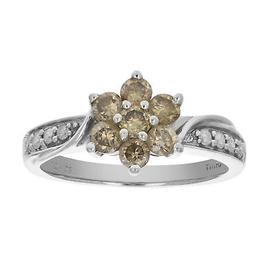 0.50 CT Champagne and White Diamond Cluster Ring 14K White Gold Size 5