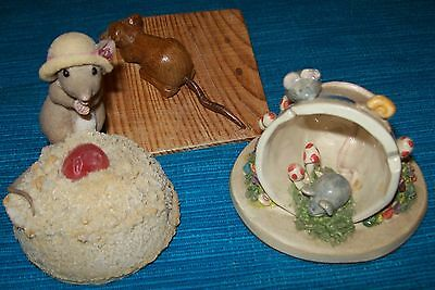 Collection of Mice,Carved Wooden Mouse,Mouse with Macaroon,Mice Miniature Scene