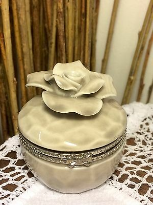 Vintage China / Porcelain Raised Rose Trinket / Ring / Pill Box with hinged lid