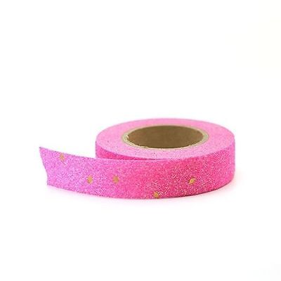 Washi Tape - Bright Neon Pink Glitter Tape with Gold Foil Sprinkles 15mm x 10m
