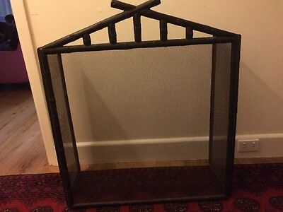 Fire screen Black Metal With Bamboo Detail