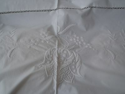 Country House Irish Mountmellick Embroidery Antique Cotton sheet 7'4'' wide