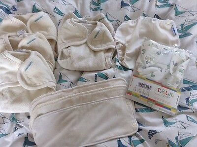 5x Motherease Stay Dry Nappies One Size BTP, Boosters/liners, 2 Large Wraps