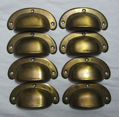 8 x VINTAGE CUPPED SHELL CUPBOARD DRAWER PULL HANDLES