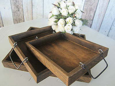 Shabby Rustic Set 3 Small Lightweight Nested Rectangular Wooden/timber Trays