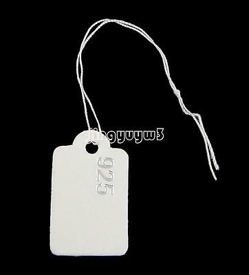 500pcs/Bag White 925 Paper Jewelry Rectangle Label Price Tags With String