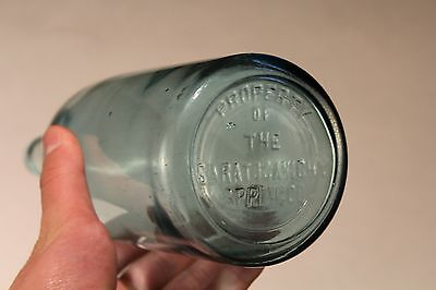 "Vintage Antique Saratoga NY Vichy Spouting Spring Aqua Water 11.5"" Glass Bottle"