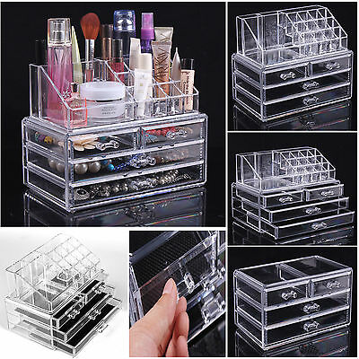 Large 4 Draws Makeup Case Jewelry Display Box Clear Acrylic Cosmetic Organizer
