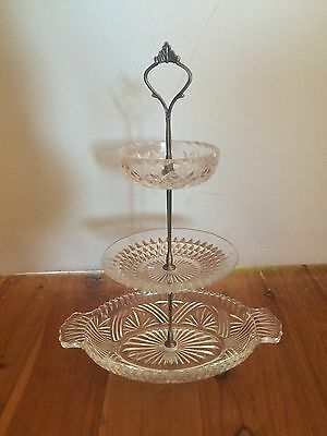 Vintage 3 Tier Cake Glass Crystal Jewellery Stand